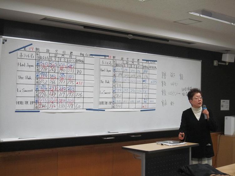 ホテル経営シミュレーションを指導する講師