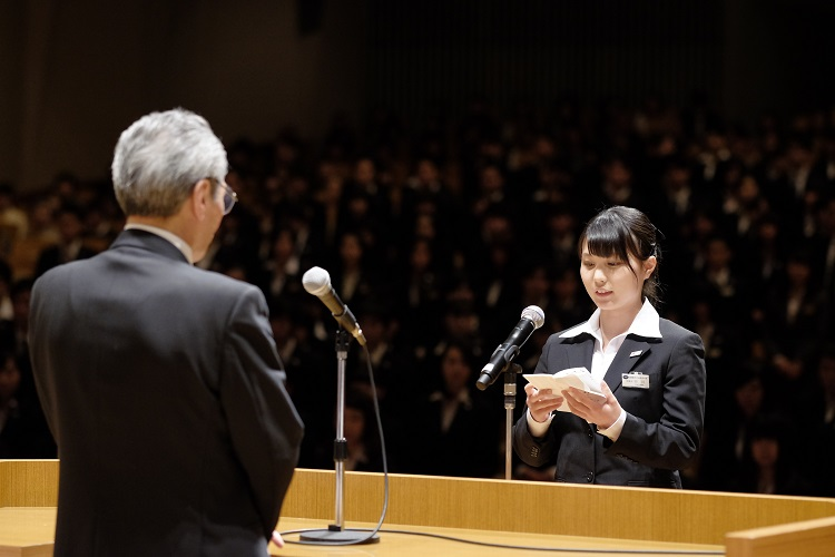 新入生代表 入学の言葉 昼間部ブライダル科 田川沙樹さん