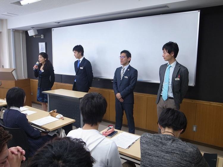 本校の留学担当職員<br> 左から、江口先生、中山先生、井上浩先生、黒田先生