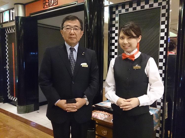 左から、金森さん、小川さん(ホテルニューオータニ博多 中国料理 大観苑前にて)