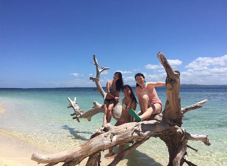 ビーチの流木に乗って遊ぶ研修生とお友達