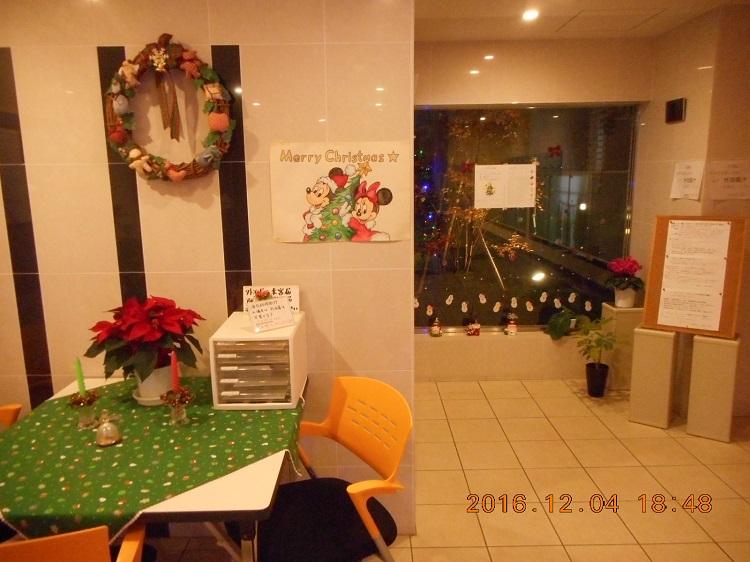 JHS学生会館内のクリスマス飾りつけ