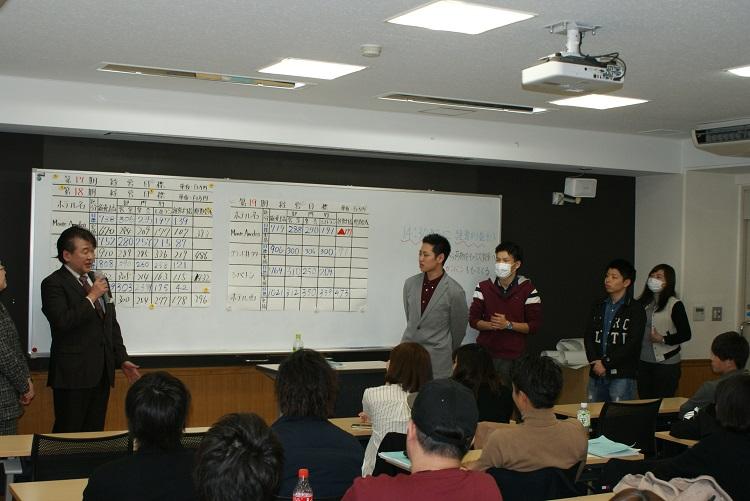 各企業(チーム)の社長が目標達成値などを発表