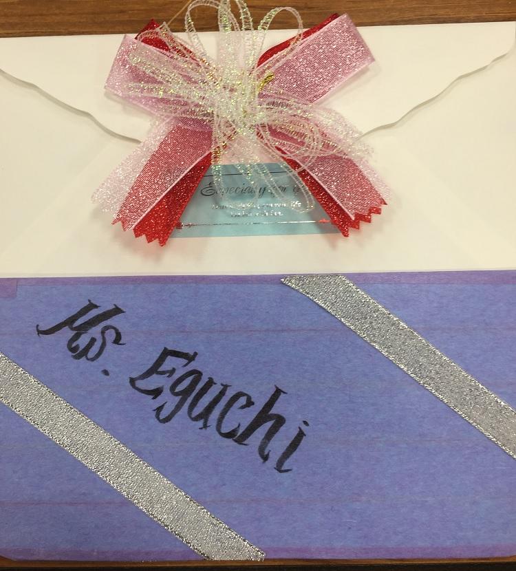 先生方へのインビテーションカード(招待状)を作りました