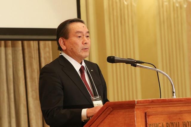 来賓を代表してBIA公益社団法人日本ブライダル文化振興協会会長・富士屋ホテル株式会社代表取締役社長の勝俣伸様からのご挨拶