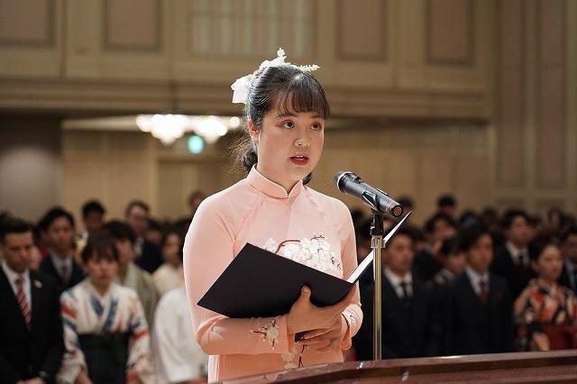 答辞/昼間部ホテル科ゴー ホアン バオ ゴックさん(外国人留学生代表)