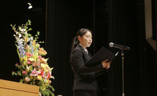 ◆歓迎のことば 昼間部 ブライダル科2年 山銅 伶那さん 埼玉県立進修館高校出身