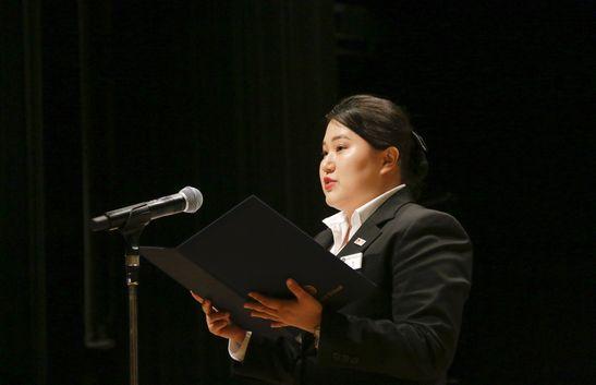 ◆歓迎のことば留学生 昼間部ホテル科2年 金 ハンソルさん 韓国出身
