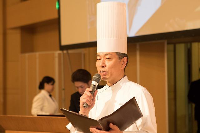 横浜ベイホテル東急 総料理長 丸山様から挨拶と料理の紹介